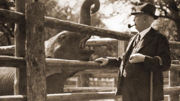 Profesor Jiří Janda, první ředitel Zoo Praha, na snímku se slonem Babym. Zdroj: archiv Zoo Praha