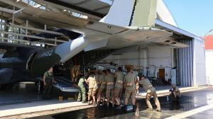 Loading the horses for the first time in Kbely. Then the plane had to almost completely unloaded and loaded again.