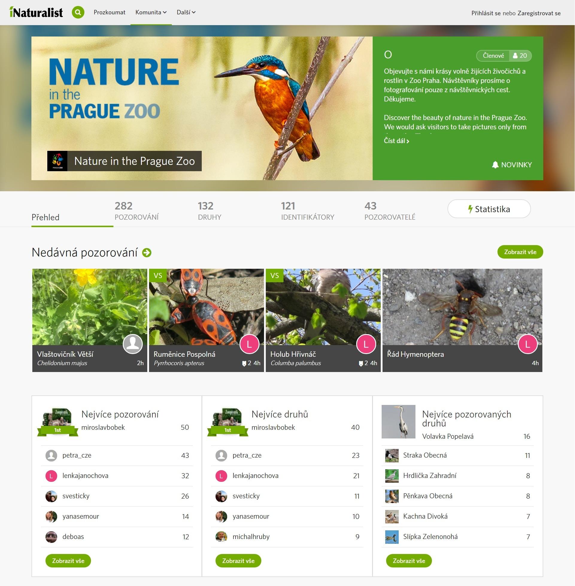 Pražská zoo v rámci aplikace iNaturalist zřídila vlastní skupinu Nature in the Prague Zoo, kde jsou shromažďovány fotografie živočichů a rostlin volně žijících v areálu.