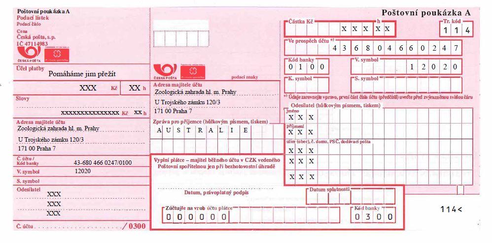 Všechna X nahraďte svými údaji (tj. částka, částka slovy, jméno a příjmení odesílatele, adresa odesílatele).